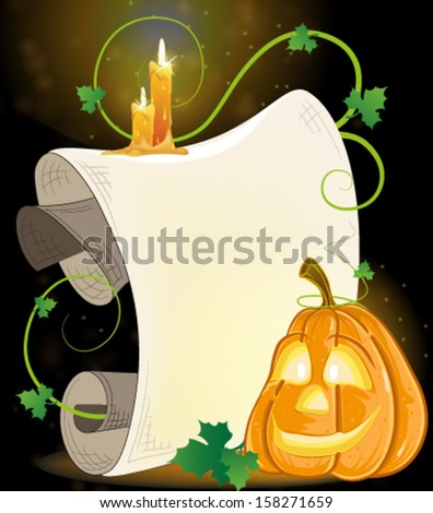 Pumpkin monster with parchment and burning candles on a dark background - stock vector