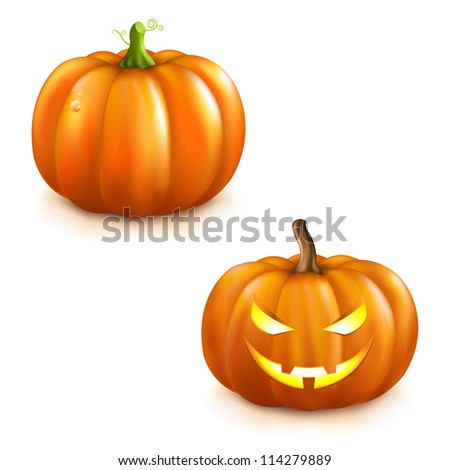 2 Pumpkins For Halloween, Isolated On White Background, Vector Illustration - stock vector