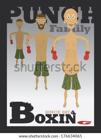 """""""PUNCH"""" Family Portrait - Three generations of fighters lined up from older to younger.  Typography stylized """"Boxing"""" text below the art. EPS10 Vector - stock vector"""
