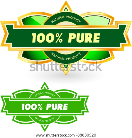 100% PURE. Vector illustration. - stock vector