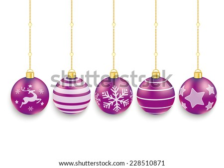 5 purple christmas baubles on the red background. Eps 10 vector file. - stock vector