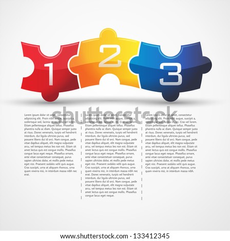 3 puzzle 3 - stock vector