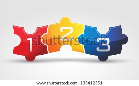 3 puzzle 2 - stock vector