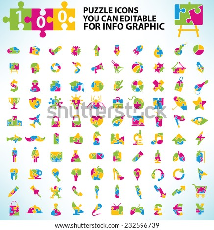 100 Puzzle icon set,Elements of info graphic design on clean background,clean vector