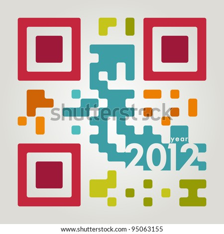 2012 qr code in cool colors - stock vector