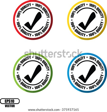 100% quality, Button, label and sign - Vector illustration - stock vector