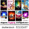 8 Quality Colorful Background for Discoteque Event Flyers with music design elements - Set 2 - stock photo