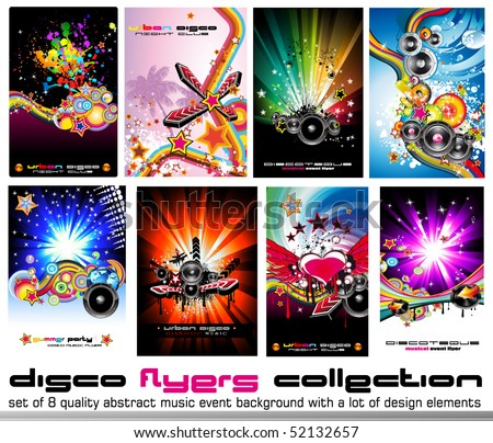 8 Quality Colorful Background for Discoteque Event Flyers with music design elements - Set 2 - stock vector