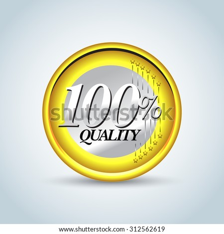 100% quality in style of one euro coin. Guarantee label, stamp, banner, badge, t-shirt design .Vector isolated design. - stock vector