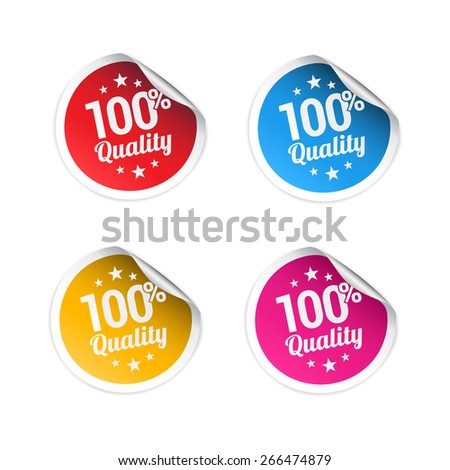 100% Quality Stickers - stock vector