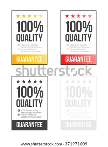 100% Quality Stickers Set - stock vector