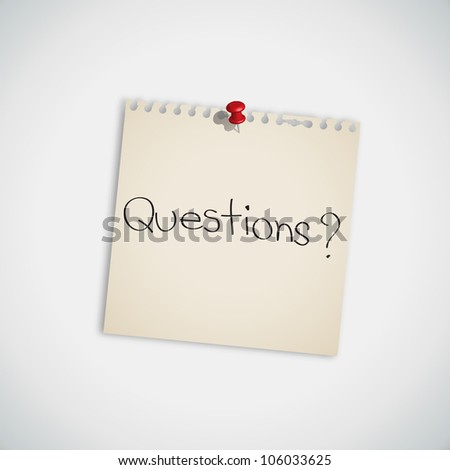 """Questions?"" handwritten on Note Paper Vector"