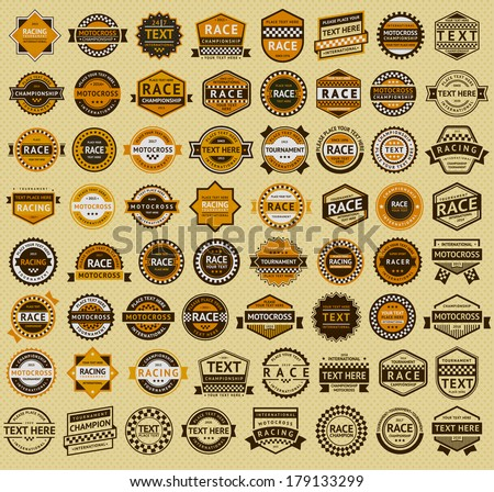 64 Racing badges - vintage style. Big orange set, vector illustration - stock vector