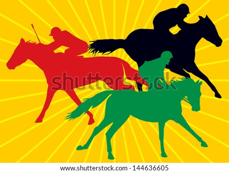 3 racing horses with jockeys, vector drawings of in colorful silhouettes with background of yellow sun rays - stock vector