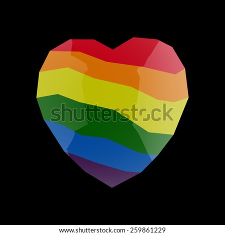 rainbow, lgbt, heart - stock vector