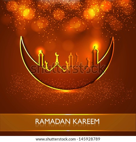 Ramadan Kareem religious mosque and moon celebration bright colorful vector