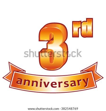 3rd anniversary. Golden vector label. - stock vector