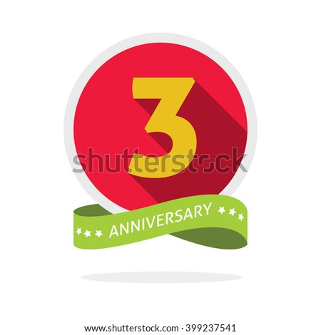 3rd anniversary logo template with a shadow on red circle and yellow number 3 (three). 3 years anniversary icon. Three years symbol, second, promotion sticker ribbon, vector emblem - stock vector