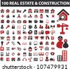 100 real estate & construction icons set, vector - stock photo