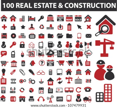 100 real estate & construction icons set, vector - stock vector
