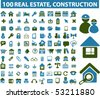 100 real estate, construction signs. vector - stock vector