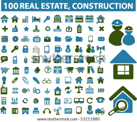 100 real estate, construction signs. vector - stock vector