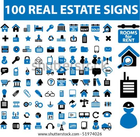 100 real estate signs. vector - stock vector