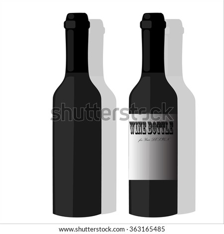 Realistic Bottles For Red Wine Isolated.  For Your Design and Branding. Vector