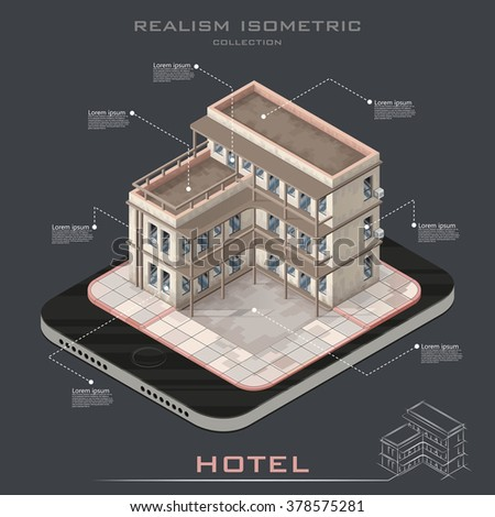 Realistic Vector isometric hotel building icon infographic