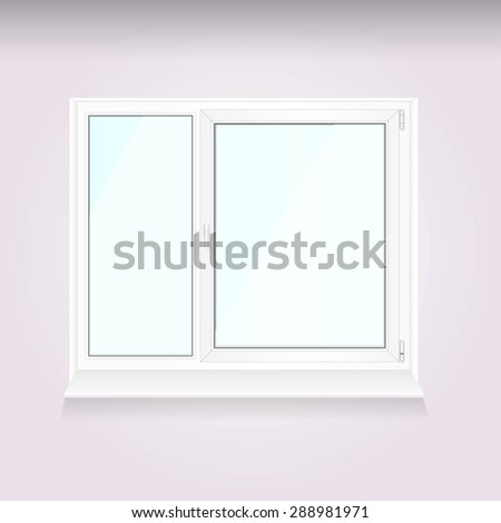Realistic white plastic window isolated on wall background. PVC window, vector illustration, interiors - stock vector