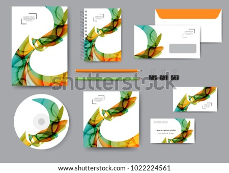 Ð¡reative corporate identity template with abstract lines and waves