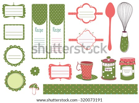 recipe vector card template with kitchen design elements