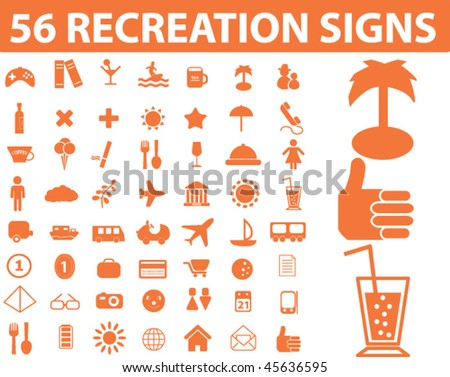 56 recreation signs. vector