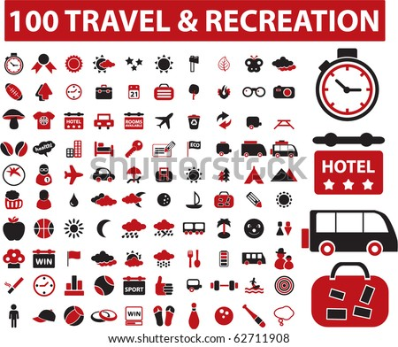 100 recreation & travel signs. vector - stock vector