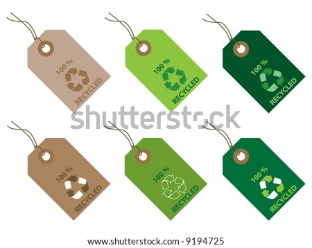100 % recycled tags - stock vector