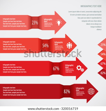 Red Arrow Infographic Background - Icons and arrows for 4 options. EPS10 vector. - stock vector