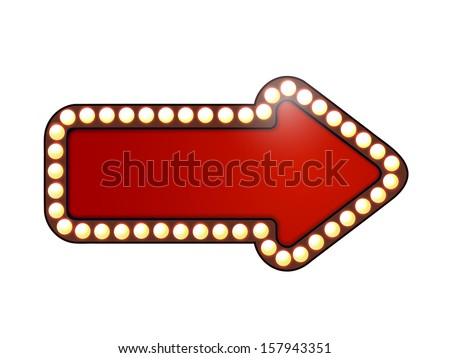 Red arrow with light bulbs. Isolated  - stock vector