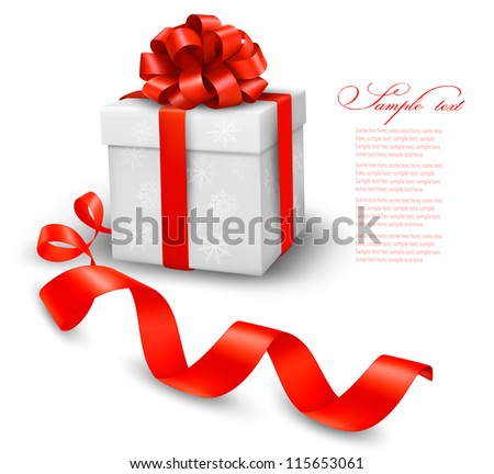 Red gift box with red ribbons. Vector illustration. - stock vector