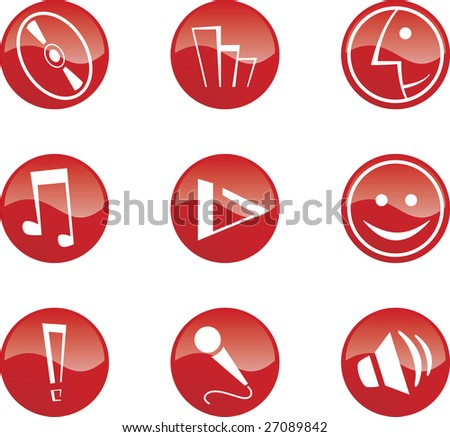 9 red music icons - stock vector