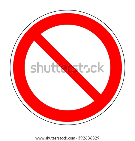 Red no/not allowed symbol on white background. Stock vector - stock vector