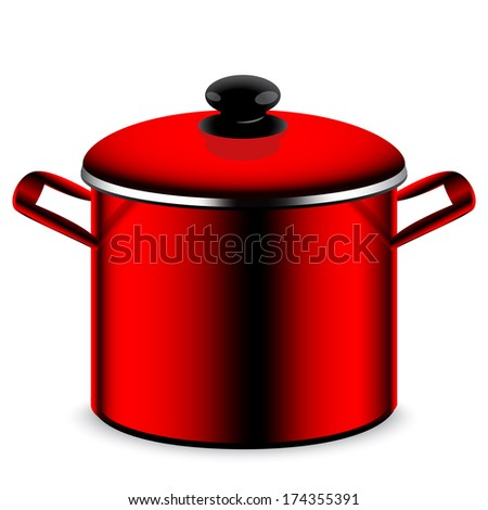 Red pan kitchen pot isolated on white background  - stock vector