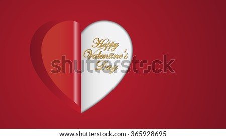 Red paper hearts  folding  Valentines day greeting card - stock vector
