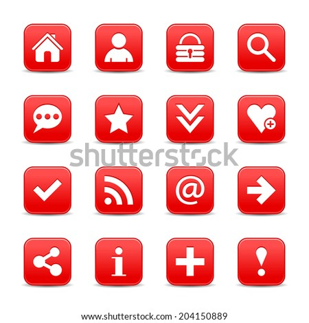 16 red satin icon with basic sign. Rounded square web internet button with gray shadow on white background. Vector illustration design element 8 eps - stock vector