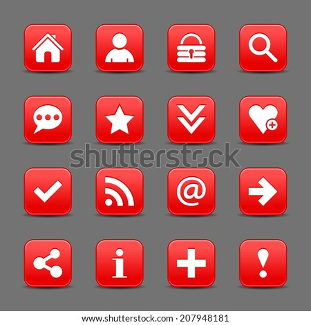 16 red satin icon with white basic sign on rounded square web button with black shadow on dark gray background. This vector illustration internet design element save in 8 eps - stock vector
