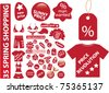 35 red shopping stickers, vector - stock vector