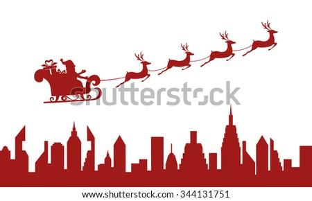 Red Silhouette. Santa claus flying over a city with reindeer sleigh. Cartoon Vector Illustration. - stock vector