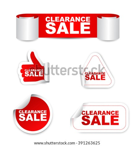 red sticker clearance sale, red vector sticker clearance sale, set stickers clearance sale, clearance sale eps10, design clearance sale, sign clearance sale, banner clearance sale - stock vector