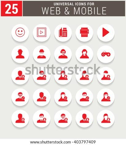 25 Red Universal icon set. simple pictogram minimal, flat, solid, mono, monochrome, plain, contemporary style. Vector illustration web internet design elements  - stock vector