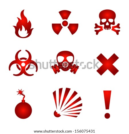 Red warning icons - stock vector
