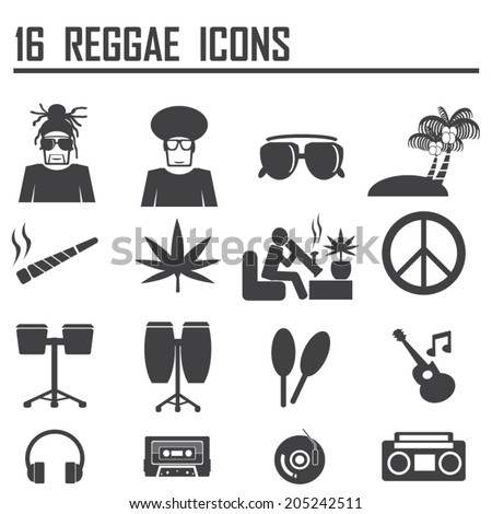 16  Reggae Icons - stock vector